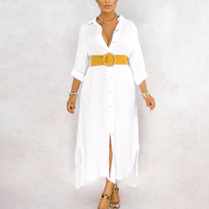 Long Shirt Dress Loose Button Down Long Shirt Dress Summer Long Sleeve Maxi Beach Dress Split Vestido Robe Vintag Long Dress