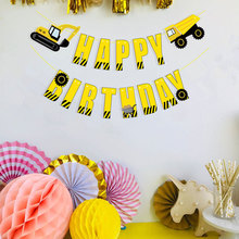 Excavators Boy Party Decoration Banner Happy Birthday Letter Banner Kids Adults Birthday Bunting Garland Flags Party Supplies space banner party decoration baby shower birthday banner party supplies kids boy girl birthday decoration bunting garland flags