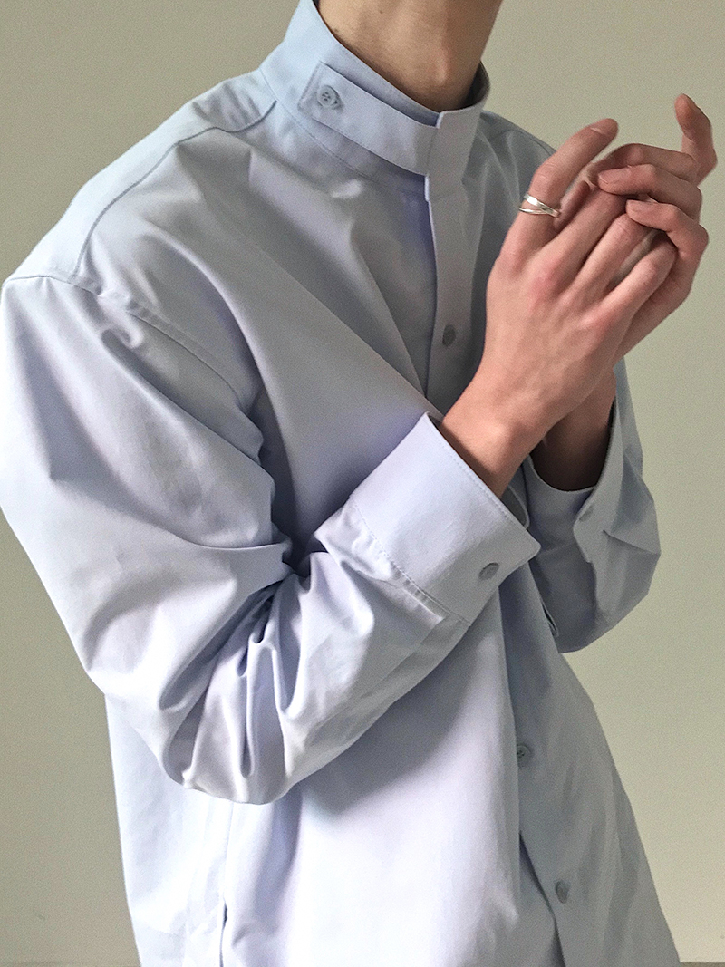 IEFB /men's wear loose korean trendy stand collar long sleeve shirts vent hme loose casual all-match white tops 2020 new 9Y1480 2