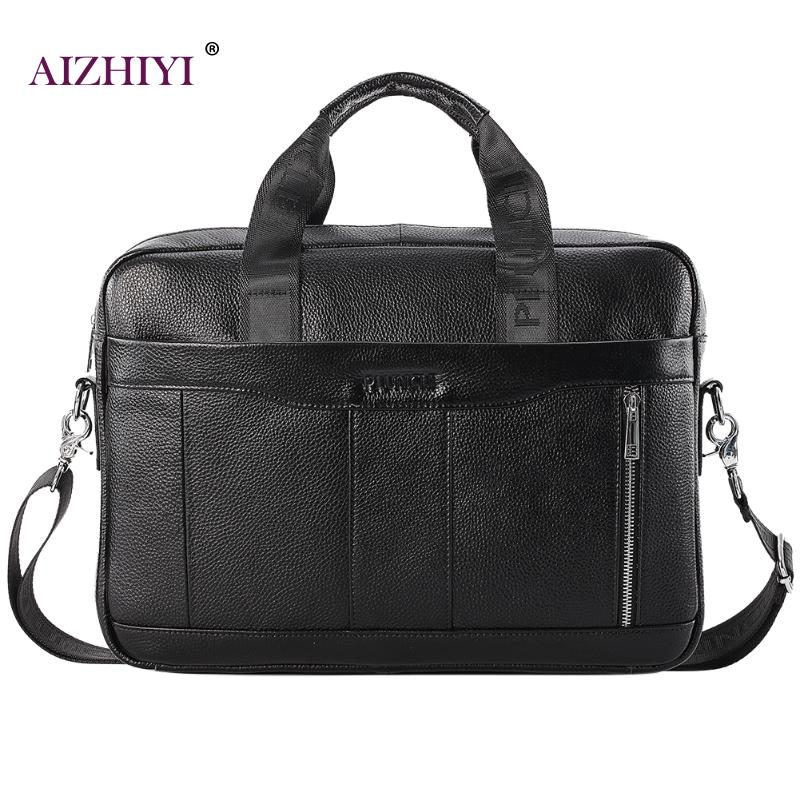 Male Casual Black Large Genuine Leather Top-handle Bags Men Shoulder Bags Business Briefcase Messenger Handbags