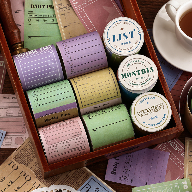 Vintage Planner Washi Tape Weely Daily Monthly To Do List Travel Label Planned Note Color Masking Tapes Sticker Stationery A6736