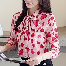 топы с принтом блузки длинными рукавами Топ Женские шифоновые