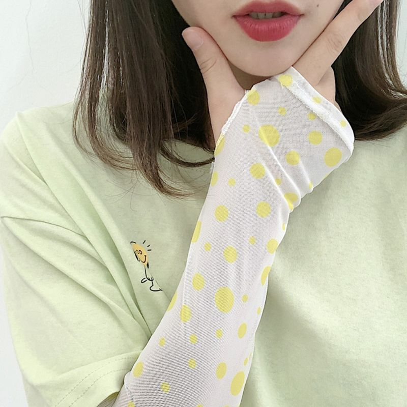 Korean Women Girl Summer Ice Silk Arm Sleeves Cover Retro Colored Polka Dot Print UV Protection Driving Cycling Sunscreen Gloves
