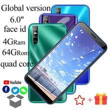6.0 polegada de Tela HD A21s 2Sim 64 4GB de RAM GB ROM IPS Smartphones Celulares MTK6580 13MP Android ID Rosto desbloqueado Telefones celulares