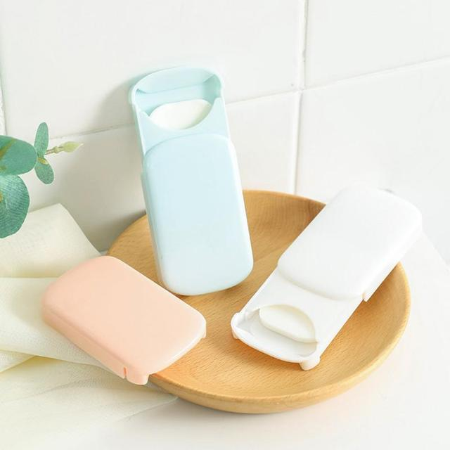 20 Pc/box Disposable Mini Travel Soap Paper Portable Boxed Foaming Paper Soap Washing Hand Bath Cleaning Scented Sheets TSLM1