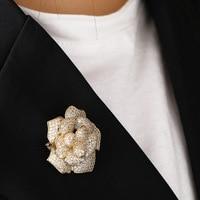 MECHOSEN Luxury large flower gold brooch full zircon jewelry wedding ladies bride clothing scarf suit shirt accessories pin gift