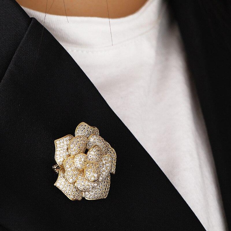 Mechoice luxe grande fleur broche en or plein zircon bijoux de mariage dames mariée vêtements écharpe costume chemise accessoires broche cadeau