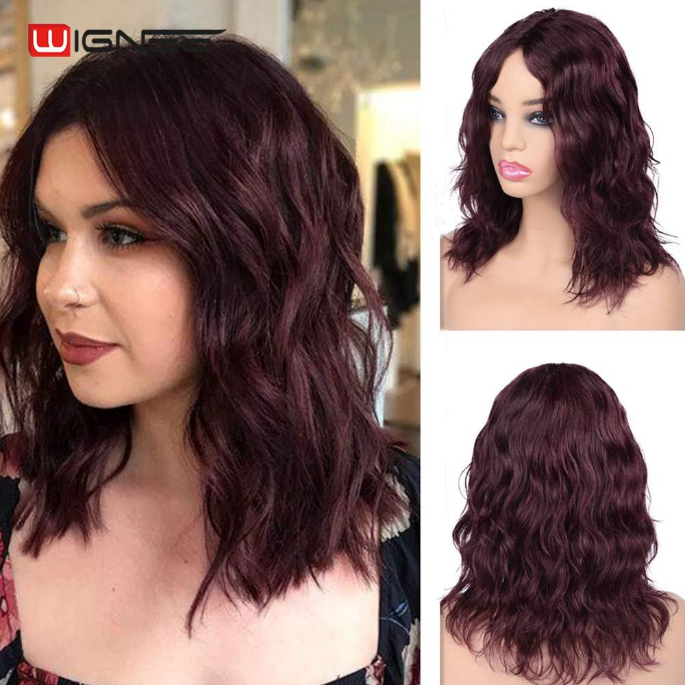 Wignee Short Human Hair Wigs For Black/White Women Middle Part Natural Wave 150% High Density Lace Part Remy Hair 99J Human Wigs