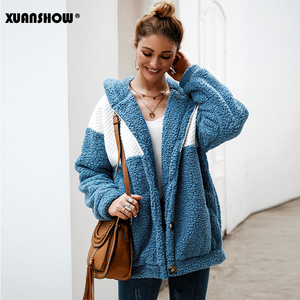 Image 5 - XUANSHOW 2019 Winter Women Coat Hooded Loose Fashion Long Sleeve Fluffy Splice Female Top Hoodies Keep Warm Clothes S XL