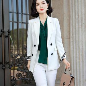 Image 5 - Zarif uzun bayanlar blazer düğmeleri ile kadınlar katı ceket yüksek kaliteli dış giyim ceket siyah pembe beyaz, mavi şampanya