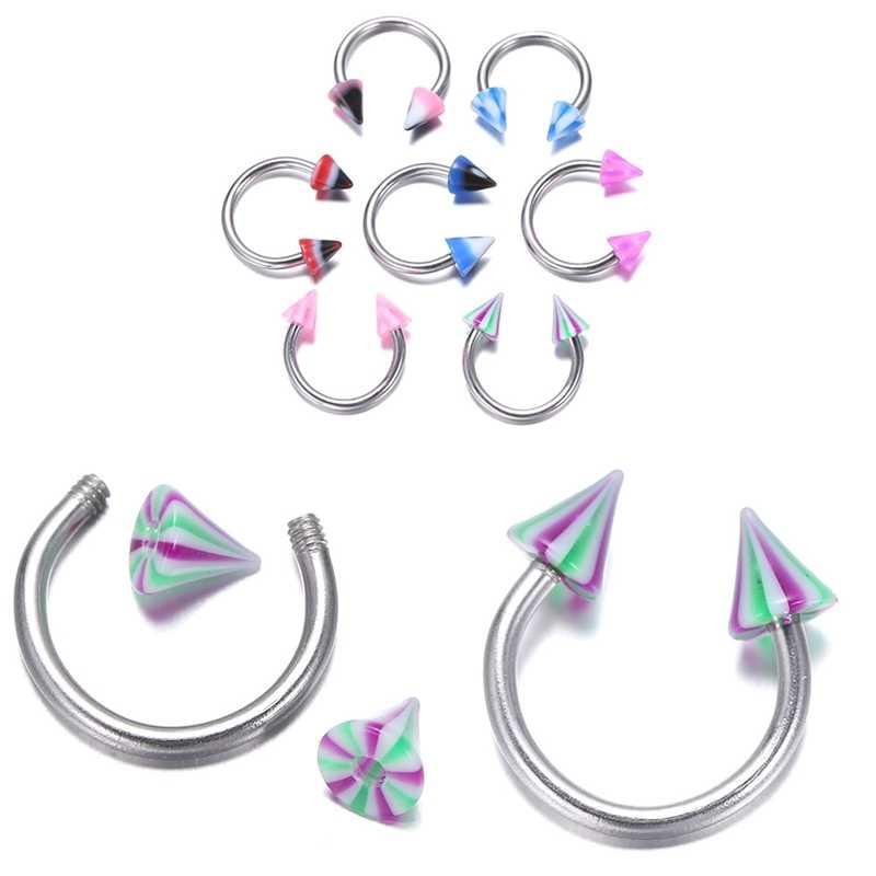 5PCS לשון גבות פירסינג שפתיים בטן טבור טבעת תכשיטי מחודדת C בצורת titanium גבות ציפורניים האף טבעת- אקראי מעורב