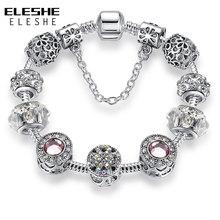 Серебро 925 пробы, кристал, клевер с четырьмя листами, браслет с чистым муранским стеклом, бусы, очаровательный браслет, для женщин, сделай сам, ювелирное изделие