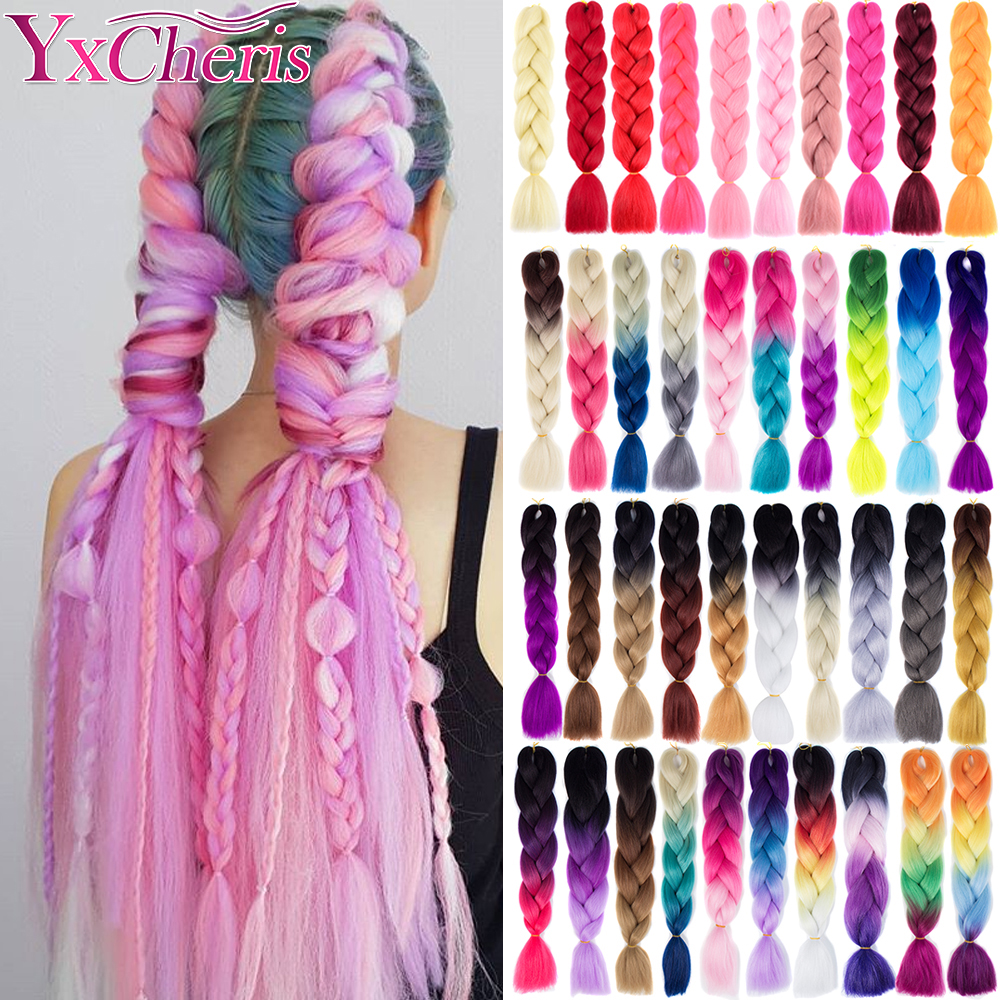 Hair Braid Synthetic Crochet Hair Extensions Jumbo False Braid Ombre Braiding Hair Pink Grey Blue Color Dreadlocks