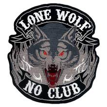 LONE WOLF NO CLUB large Embroidered backing punk biker Patches Clothes Stickers Apparel Accessories Badge
