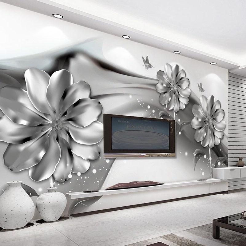 Dropship Photo Wallpaper 3D Stereo Abstract Ink Smoke Imitation Metal Flowers 3D Wall Mural Modern Art  TV Sofa Backdrop Decor