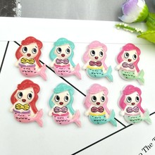 8pcs Lovely Colorful Mermaid Flat Back resin Miniature Pattern Applique DIY Home Decor Scrapbook Craft(China)