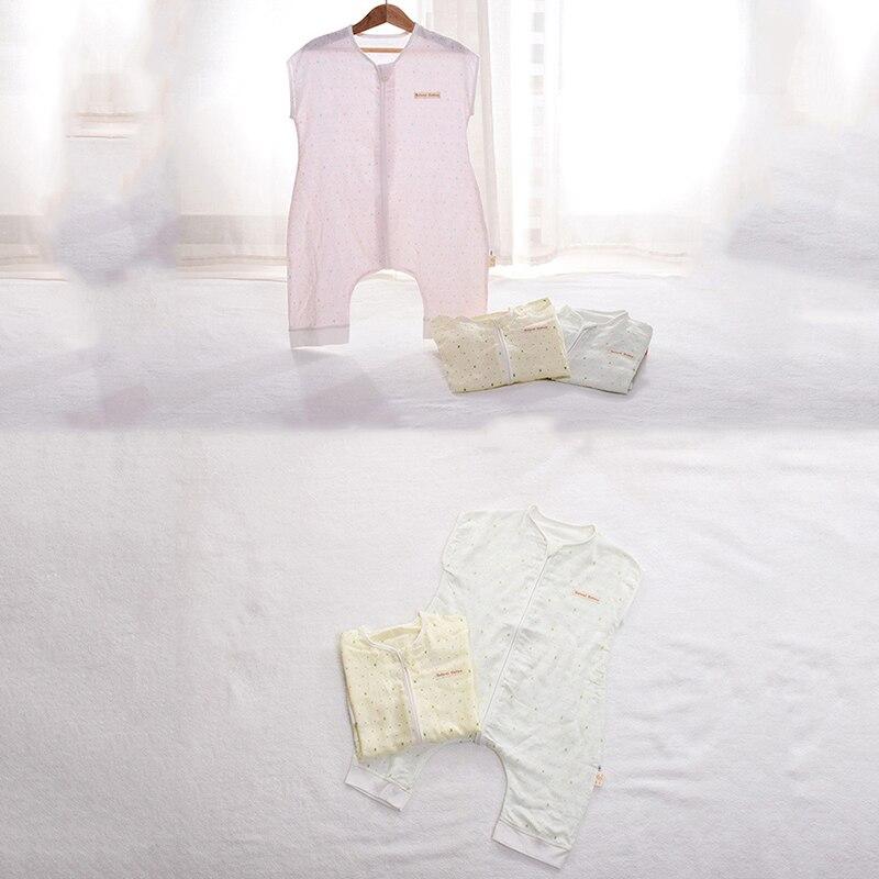 Baby Bamboo Fiber Baby Sleeping Bags Newborn Gauze Short-sleeved Polka-dot Unisex Leg Sleeping Bag Kids Bedding Accessories