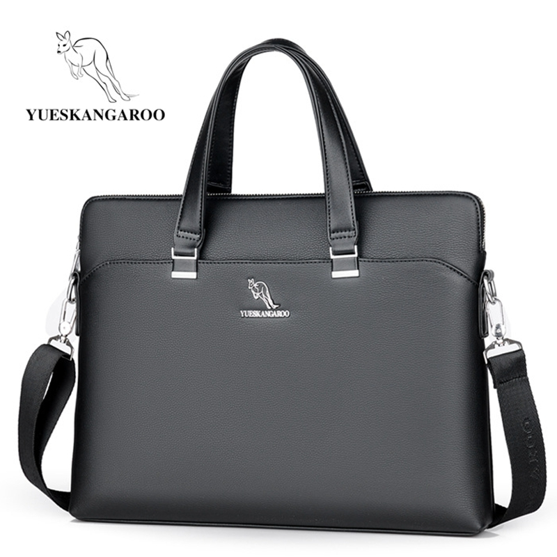 YUESKANGAROO New Leather Men Bags High Quality Laptop Business Briefcase Handbag Male Leisure Crossbody Shoulder Messenger Bag
