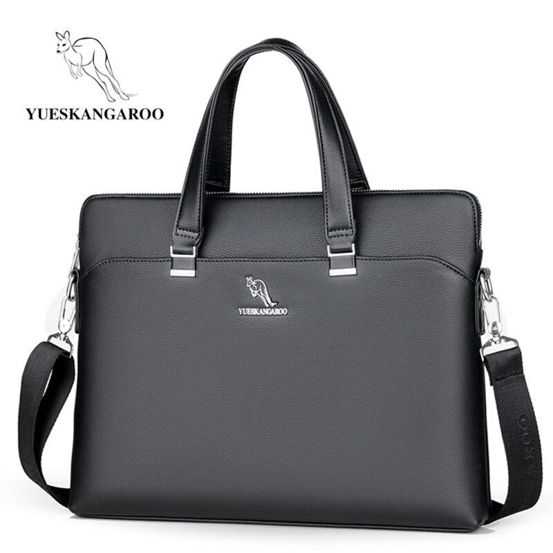 YUESKANGAROO New Leather Men Bags High Quality Laptop Business Briefcase Handbag Male Leisure Crossbody Shoulder Messenger Bag