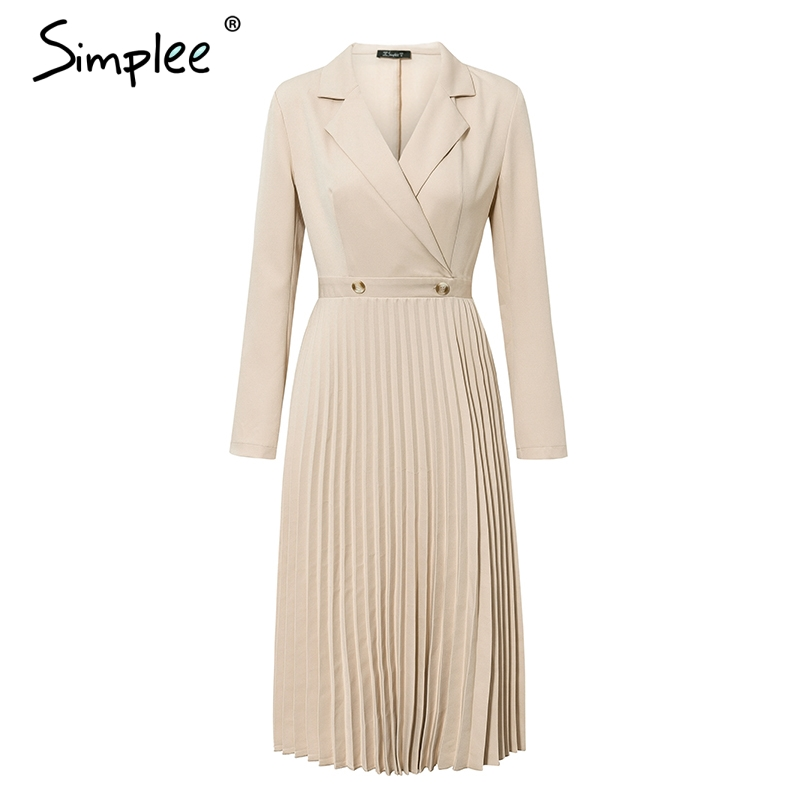 Image 5 - Simplee Elegant pleated women office dress Solid breasted ladies  blazer dress Autumn winter long sleeve chic female party dressDresses