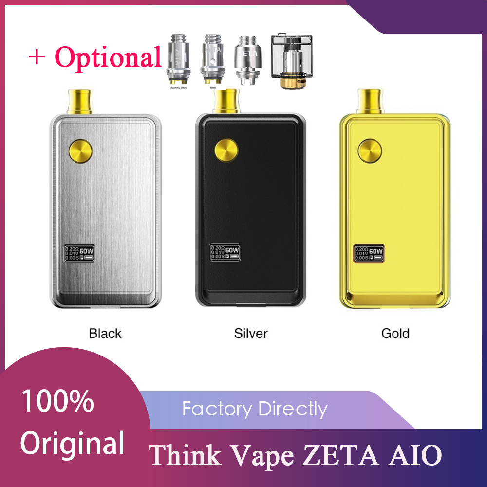 New Think Vape ZETA AIO 60W Pod Kit With 3ml Cartridge & Powered By 1pc 18650 Cell DTL/MTL E-cig Vape Pod Kit VS Vinci/Drag Nano
