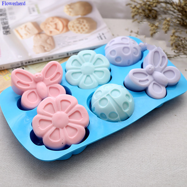 Food Grade Soft Silicone Handmade Soap Mold Six Cavities Insect Butterfly Soap Silicone Mold Soap Making Supplies Cake Decor
