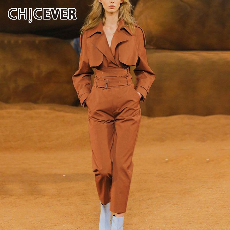 CHICEVER Two Piece Sets For Female Lapel Collar Long Sleeve Coat Pocket High Waist With Sashes Pants Women's Suit 2019 New