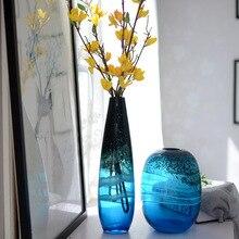 Синяя стеклянная ваза в американском стиле, Европейские предметы интерьера декоративный цветок, модная Цветочная ваза