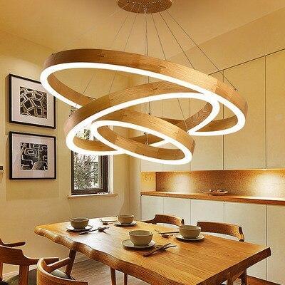 Wood Ring Pendant Lights LED Kitchen Lights LED Lamp Hanging Lamp Ceiling Lamps Dining Room Lighting Bedroom Living Room