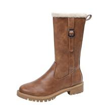 все цены на women boots low heels pu leather gladiator short plush slip on winter warm booties woman round toe plus size c12 онлайн