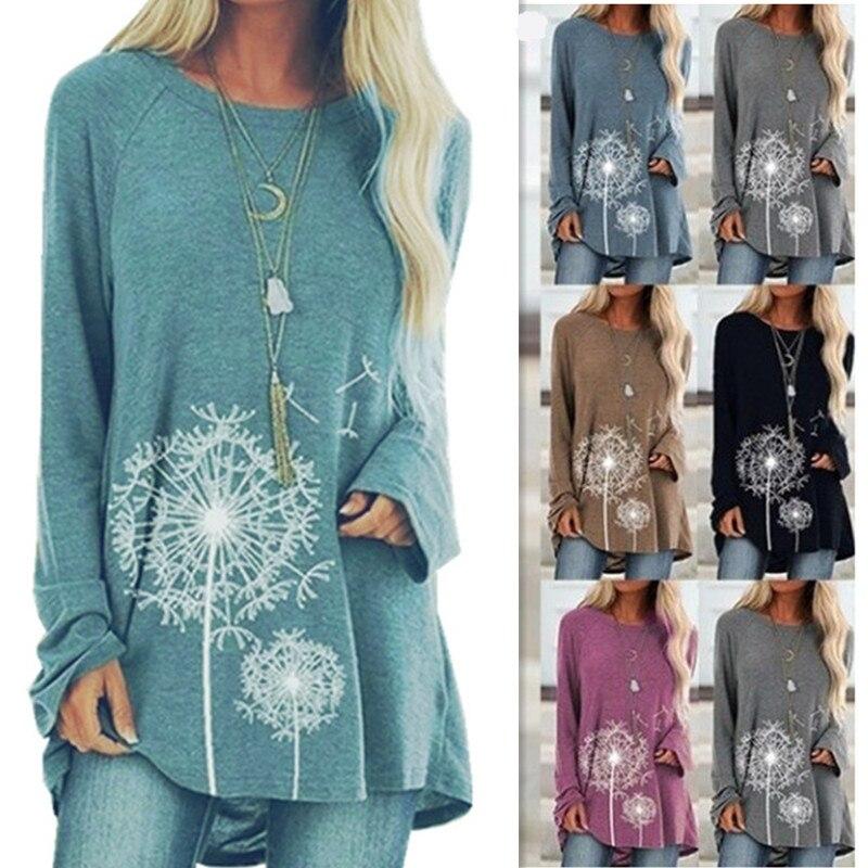 Long Casual Loose Plus Size O-Neck Long Sleeve Sweatshirts For Spring Autumn 2020 Female Fashion Print Cotton Splice Sweatshirts