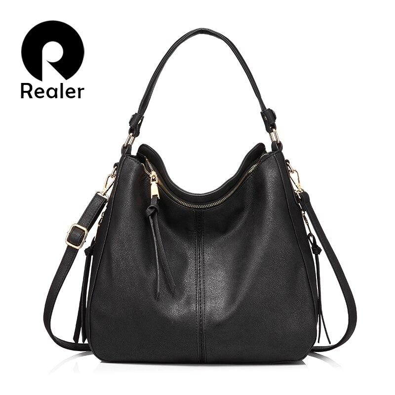REALER Handbags Women Shoulder Crossbody Bag Female Casual Large Totes High Quality Artificial Leather Ladies Hobo Messenger Bag