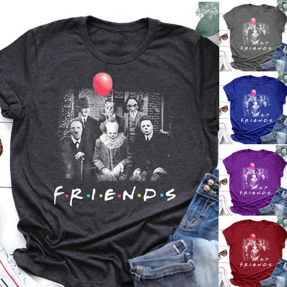 Camiseta de Halloween con estampado Floral de amigos de Horror Pennywise Michael Moon Jason Voorhees S-5XL 5 colores