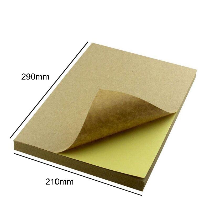 Купить с кэшбэком 100pieces A4 size White Blank Kraft Self adhesive A4Kraft sticker Paper for Laser Inkjet Printer Packaging Labels