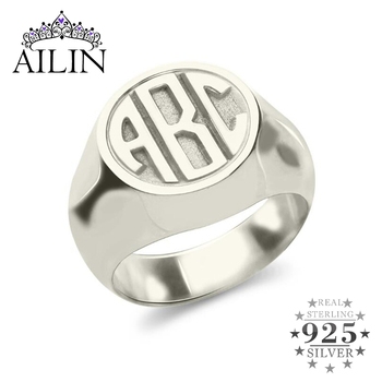 AILIN Personalized Engraved Monogram Initial Rings Men Women Customized Jewelry Letter 925 Silver Custom Ring Christmas Gifts