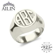 AILIN spersonalizowane grawerowane Monogram początkowe pierścienie mężczyźni kobiety dostosowane biżuteria list 925 srebrny pierścionek niestandardowy Christmas Gifts