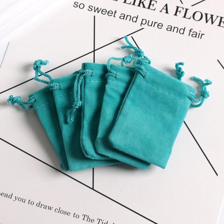 5x7cm 7x9cm  Blue Velvet Pouches Jewelry Packaging Display Drawstring Packing Gift Bags & Pouches
