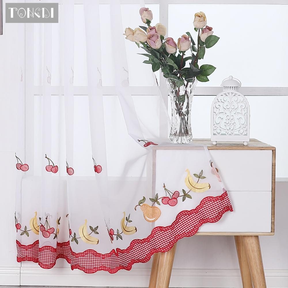 TONGDI Kitchen Curtains Pastoral Fruit Cafe  Beautiful Embroidery Tulle Country Decor Decoration For Window Kitchen Dining Room