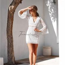 New Mini Dress Women Winter Lace V-neck Waist Flare Sleeve Long Clothes Vestidos De Verano White
