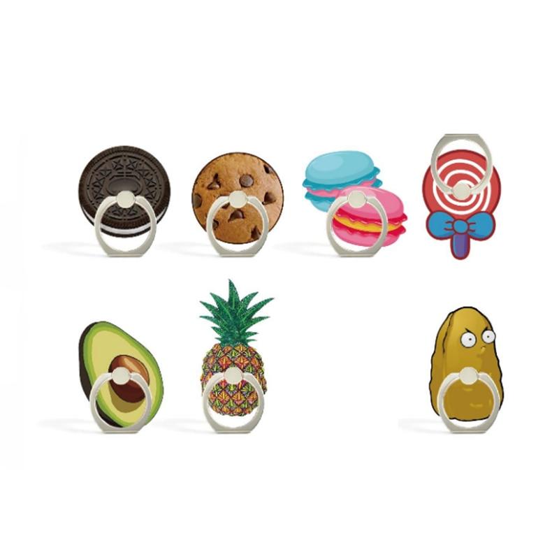 Universal Finger Ring Fruits Mobile Phone Holder Dessert Phone Holder Cookies Avocado Ring Holder For Iphone Huawei All Phone