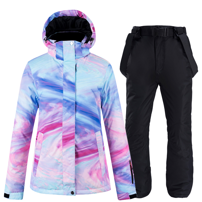 New Thick Warm Ski Suit Women Outdoor Ski Clothing -30 Windproof Waterproof Snowboarding Sets Winter Snow Jackets Snowboard Sets