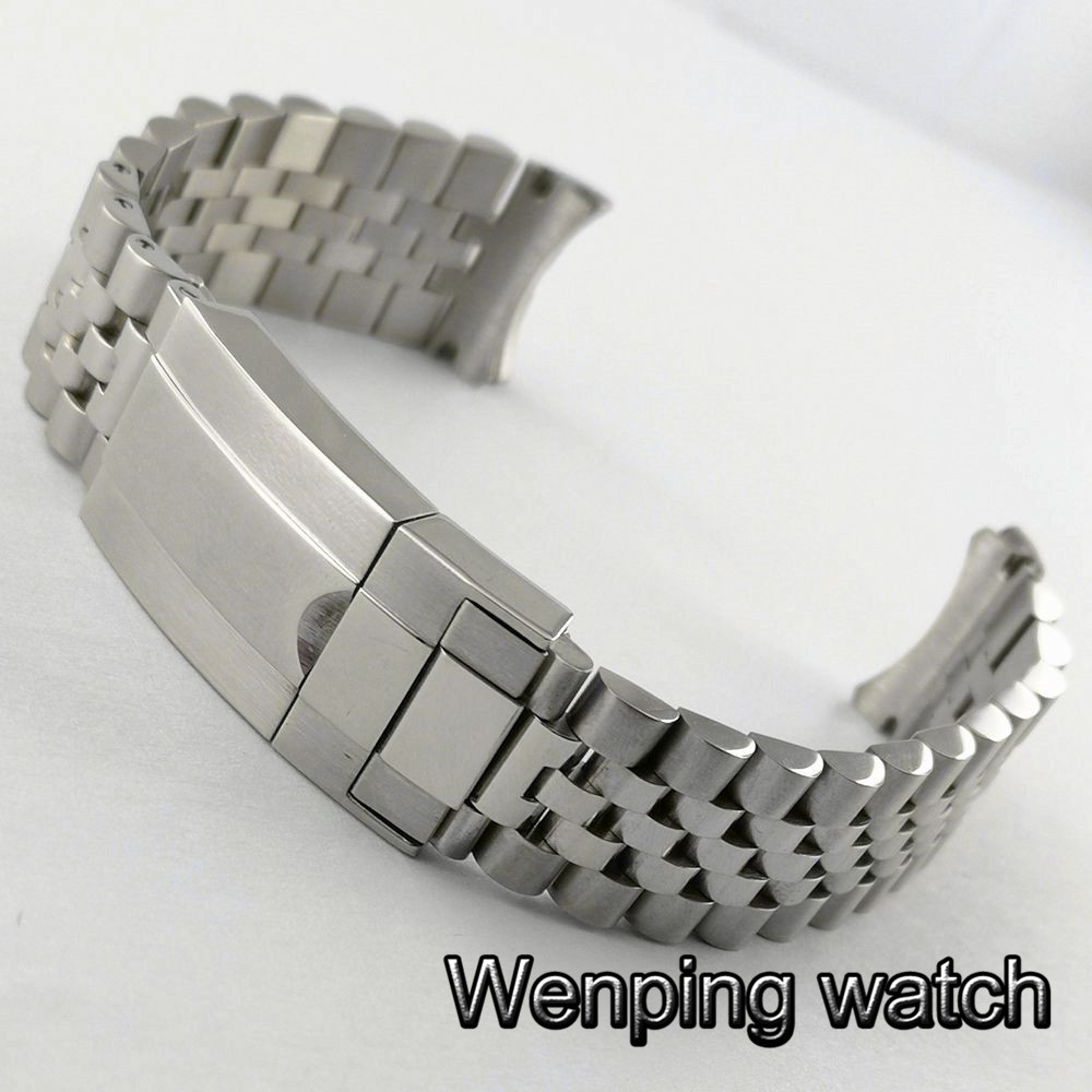 Parnis 20mm Folding Buckle Polishing Solid Stainless Steel  Strap For Fit 40mm Mens Watch Bands
