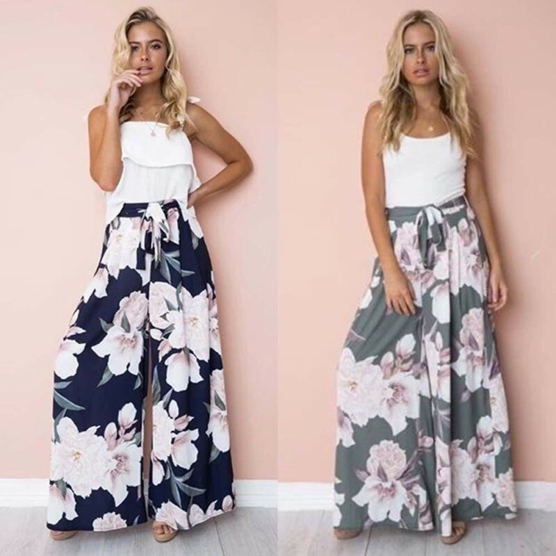 Fashion Women Summer Boho Floral Harem Long Pants Hippie High Wide Leg Gypsy Dance Boho Palazzo Loose Culottes Casual Trousers
