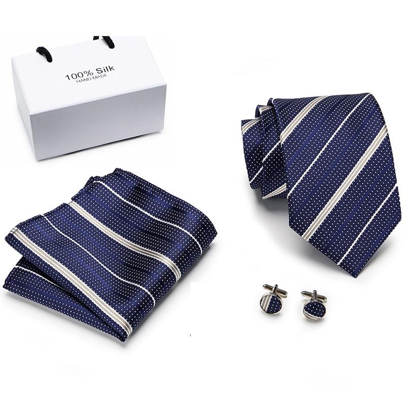 Brand Corbatas New Solid striped Mens Wedding Necktie 8cm width Ties For Men Tie With Match Handkerchiefs 3pcs Set