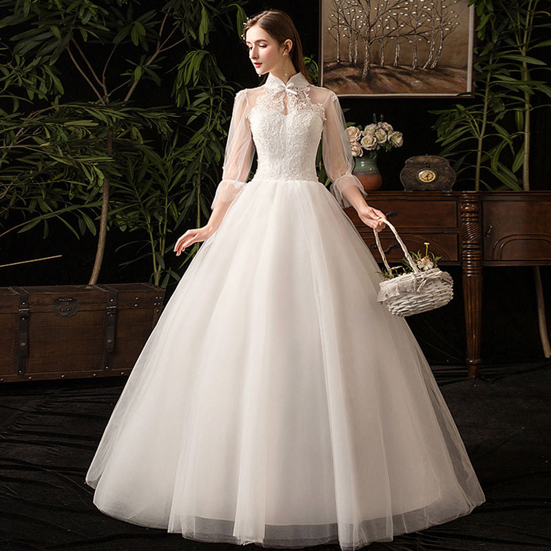 White Standing Collar Romantic Wedding Gowns Long Sleeve Wedding Dress Bridal Gown Tulle Lace Big Yards Wedding Dresses