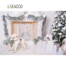 Laeacco Merry Christmas Tree Fireplace Baby Toys Bulb Gift Party Child Portrait Photo Background Photographic Backdrop Photocall