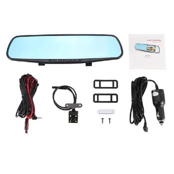 Hd Reversing Image Single And Double Lens Camera 4.3 Inch Rearview Mirror 1080P Driving Recorder Car Supplies image