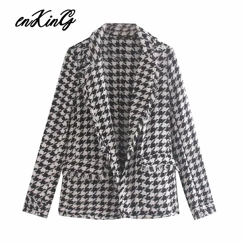 2019  England Vintage Plaid Tweed Houndstooth Simple Blazer Feminino Blazer Women Blazer Mujer 2019 Women Blazers And Jackets