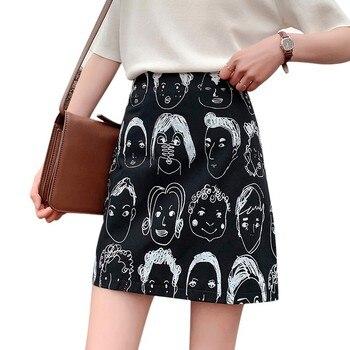 Korean Style Skirts Retro Comic Print High Waist Wild A Line Skirt Fashion Women Bag Hip Mini Skirt 8