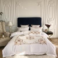 Chic Embroidery White Luxury Duvet Quilt Cover Bed Sheet Pillow Shams Rich Silky Sateen and Cotton Soft 4pc Bedding Set